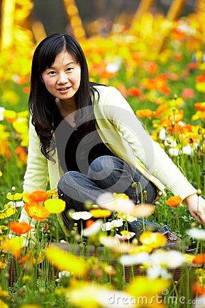 Young lady in  flower fields