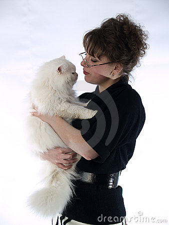 Young Lady in glasses holding cat