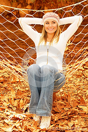 Young lady in hammock