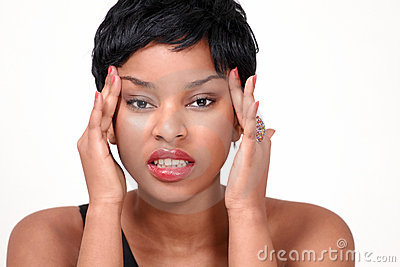 Young lady with headache and stress