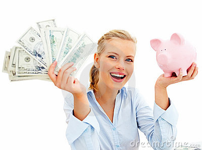 Young lady with her piggy bank and dollars