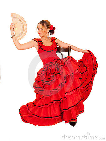 Young lady in hispanic red dress