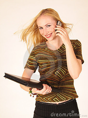 Young lady holding a cell phone