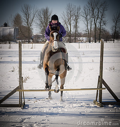Free Young Lady Jumping Her Horse In Winter Stock Photography - 29213922