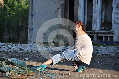 Young lady near ruins