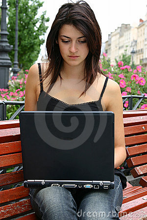 Young lady with notebook