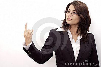 Young lady with one finger up