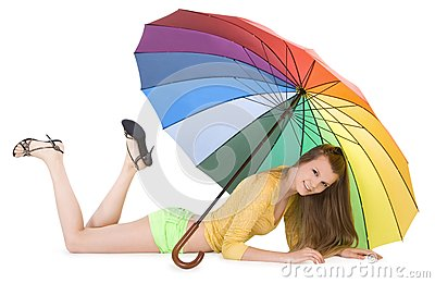 Young lady posing with color umbrella