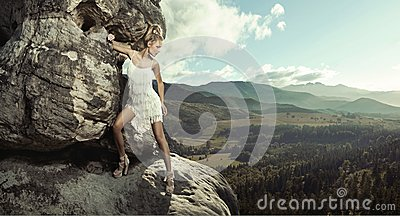 Young lady posing in mountain