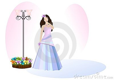 Young lady in prom dress, cdr vector
