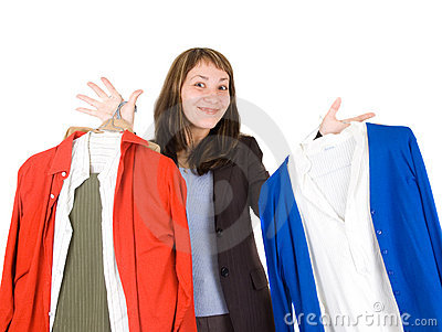 Young lady purchasing clothes