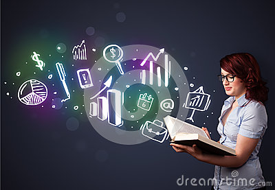 Young lady reading a book with business icons