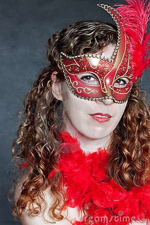 Young lady in a red mask
