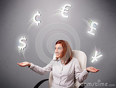 Young lady sitting and juggling with currency icons