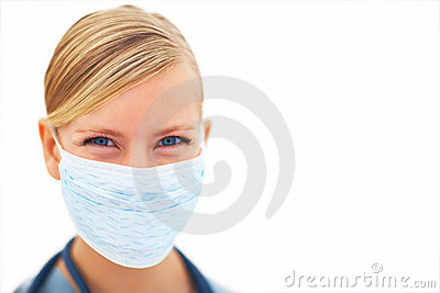 Young Lady Surgeon With Face Mask Over White Stock Photo - Image: 7822750