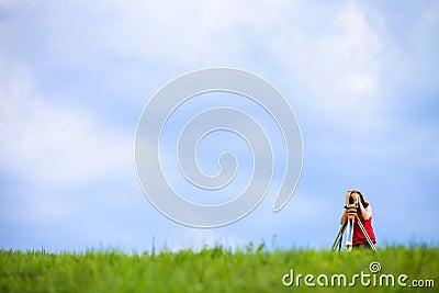 Young land surveyor
