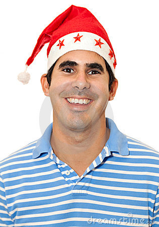 Young latin man with a red santa hat