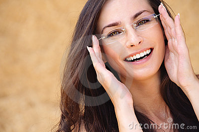 Young laughing woman wearing