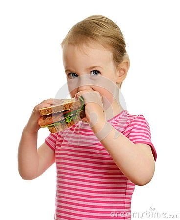 Free Young Little Girl Eating Sandwich Stock Photos - 25263023