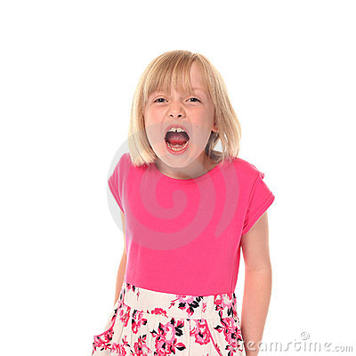 Young little girl shouting