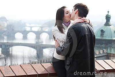 Young love couple in city Prague