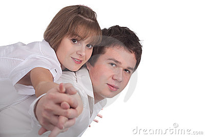 Young love couple isolated