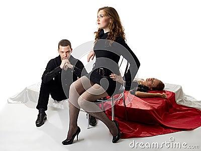 Young love triangle in decadence jealosy scene