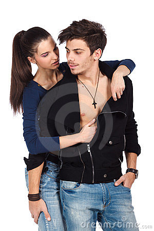 Young lovers in foreplay