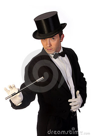 Young magician performing with wand