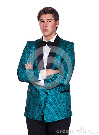 Young magician in suit