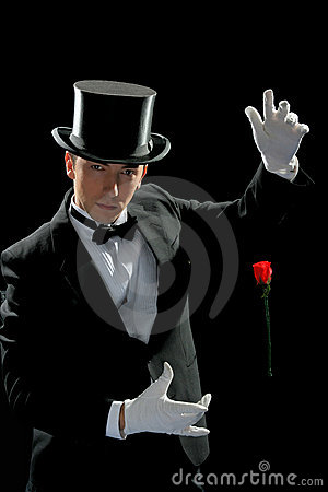 Free Young Magician With Rose Stock Photo - 9485450