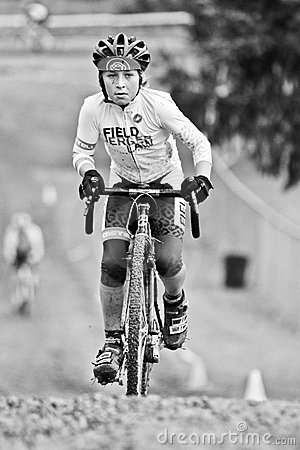Young Male Bicycle Climbs During Cycloross Event Editorial Stock Photo