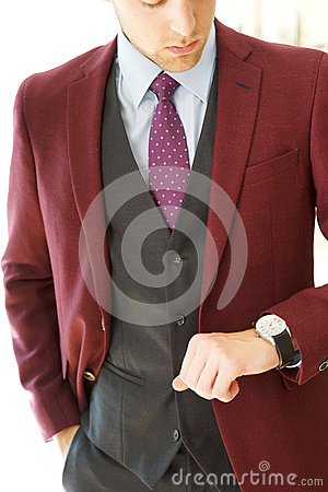 Free Young Male Burgandy Blazer Stock Photography - 66001102