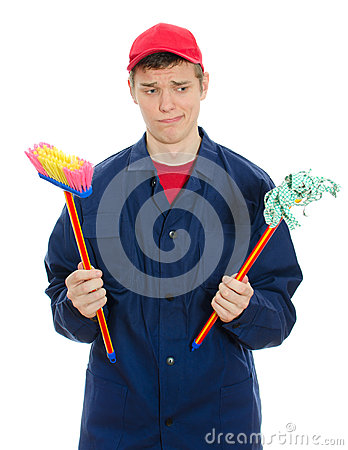 Young male cleaner