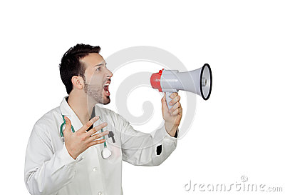 Young Male Doctor Shouting Through Megaphone
