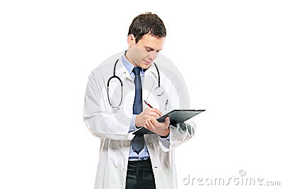 A young male doctor writing down notes