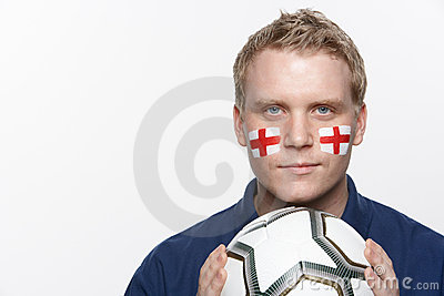 Young Male Football Fan With St Georges Flag