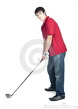 Young male golf player