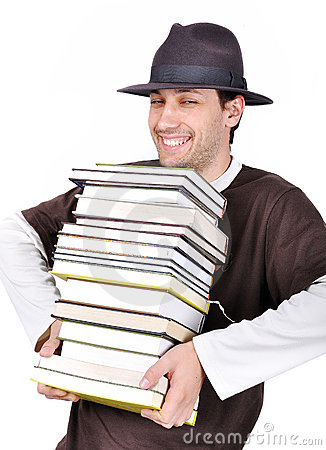 Young male holding books