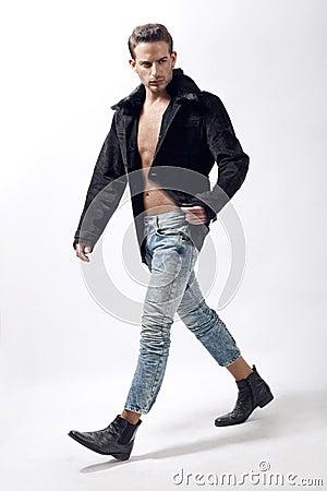 Young male model wearing winter jacket
