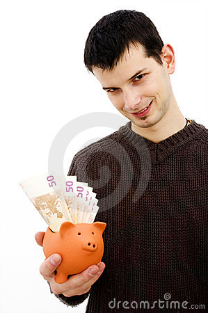 Young male with piggy bank