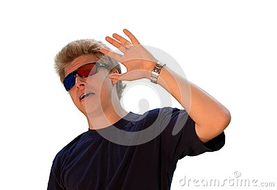 Young man with 3d glasses