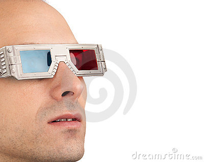 Young man in 3D glasses