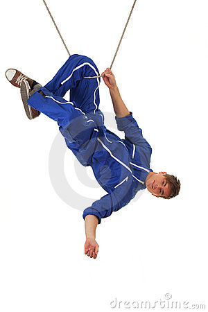 Young man in acrobatic tricks on rope