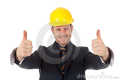 Young man architect thumbs up