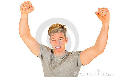 Young man with arms up