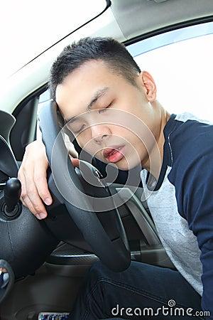 Free Young Man Asleep At The Wheel Stock Photos - 38851173