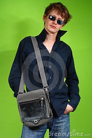 Young man with the bag, traveler