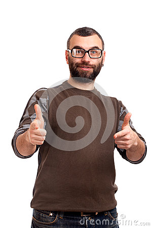 Young man with beard points at you