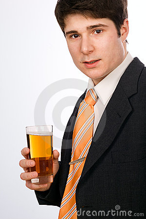 Young man with beer